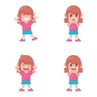 Conjunto de crianças felizes com muitas expressões de gestos