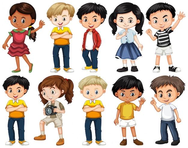 Conjunto de crianças felizes em diferentes ações