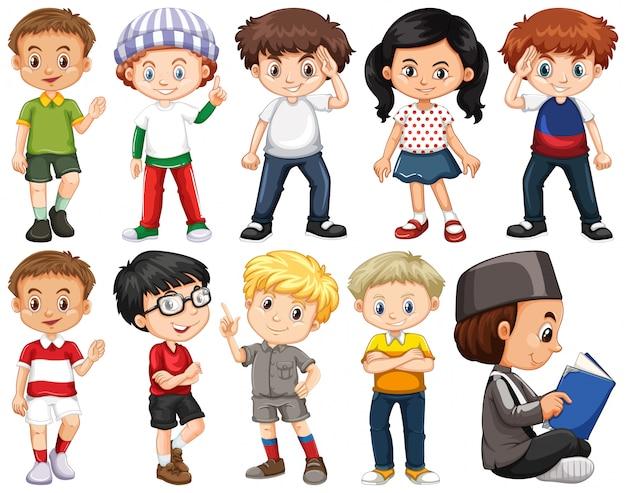 Conjunto de crianças felizes em traje diferente