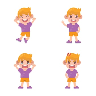 Conjunto de crianças felizes, menino bonito, com muitas expressões de gestos