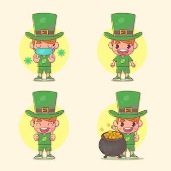 Conjunto de crianças felizes menino st. personagem do dia de patrick com muitas expressões de gestos.