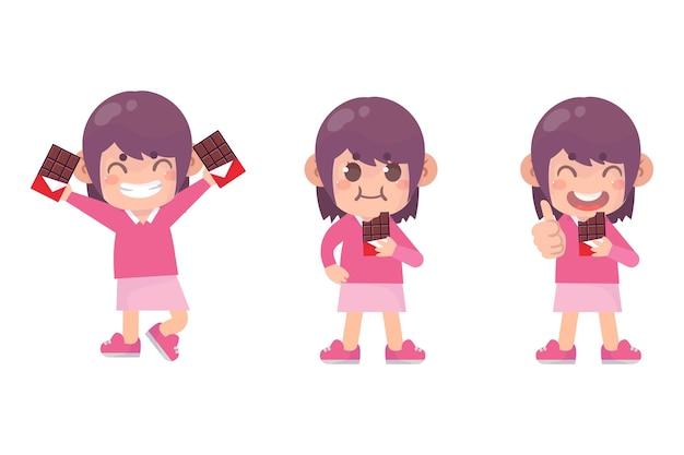 Conjunto de crianças felizes, personagem de menina bonita com chocolate