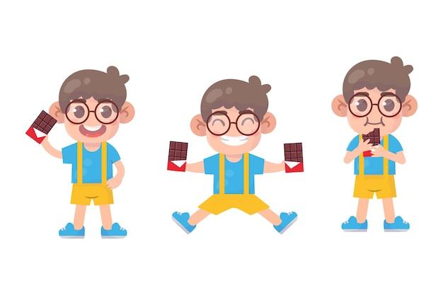 Conjunto de crianças felizes, personagem de menino bonito com chocolate