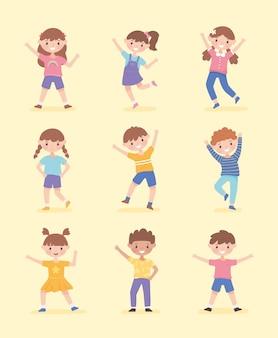 Conjunto de crianças felizes