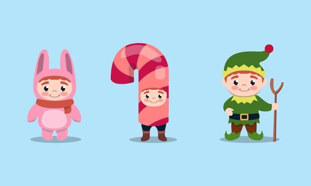 Conjunto de crianças fofas com ilustração de fantasia de natal