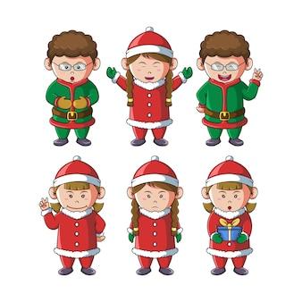 Conjunto de crianças fofas ilustração do mascote do natal