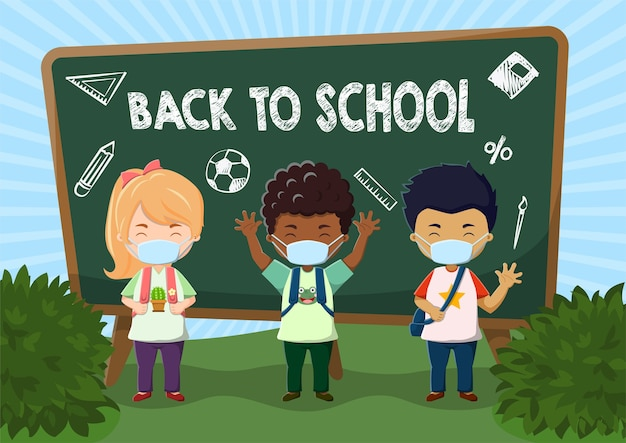 Conjunto de crianças fofas usando máscara de volta às aulas com ilustração de fundo