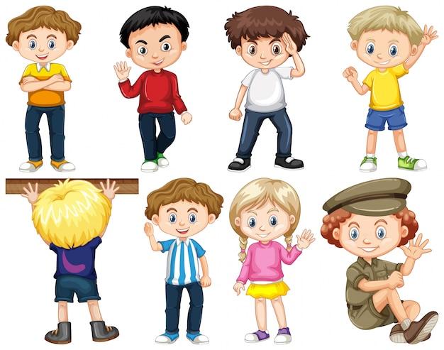 Conjunto de crianças isoladas em diferentes ações