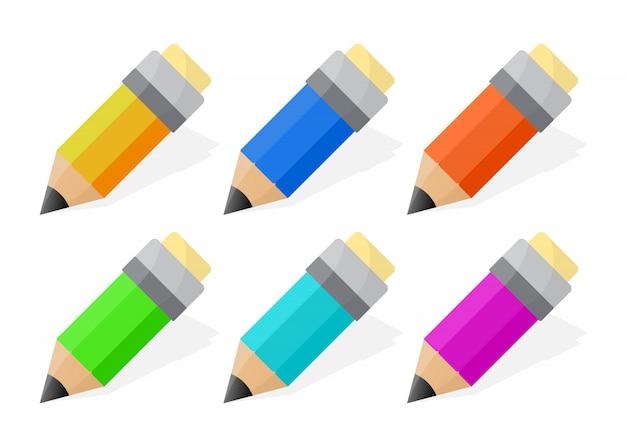 Conjunto de crianças lápis isolado. estilo dos desenhos animados. ilustração vetorial.