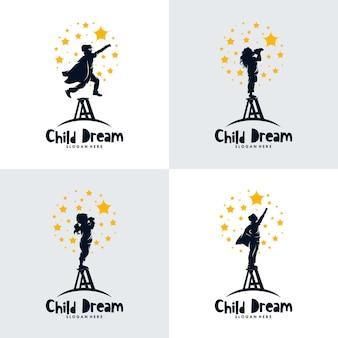 Conjunto de crianças mira no design do logotipo das estrelas