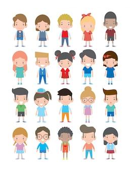 Conjunto de crianças multiculturais de desenho animado