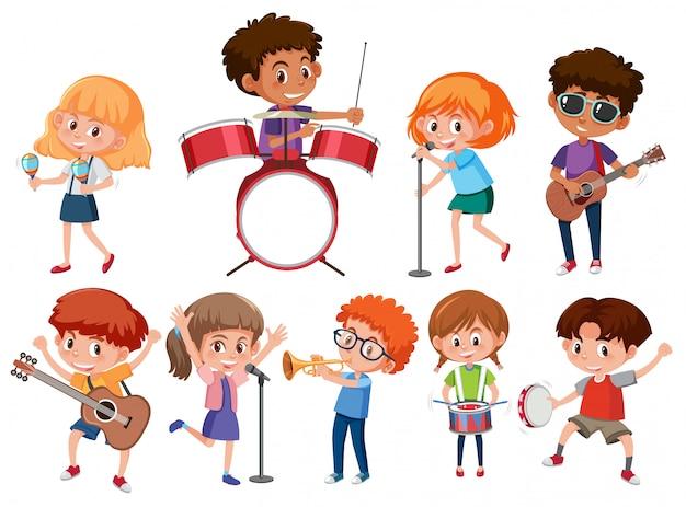 Conjunto de crianças músico