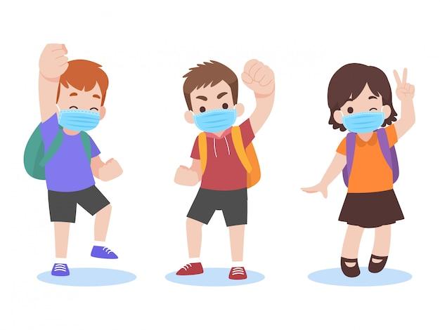 Conjunto de crianças na nova vida normal, vestindo uma máscara médica protetora cirúrgica de volta às aulas