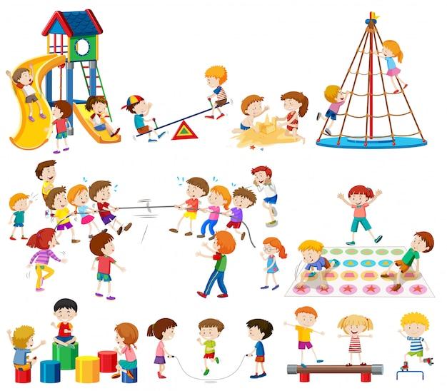 Conjunto de crianças no playground
