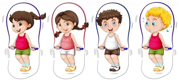 Conjunto de crianças pulando corda