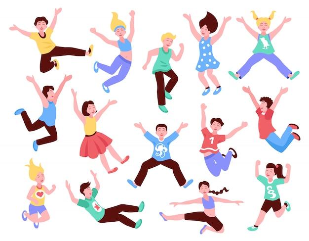 Conjunto de crianças pulando feliz