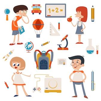 Conjunto de crianças retro escolar de desenho animado isolado
