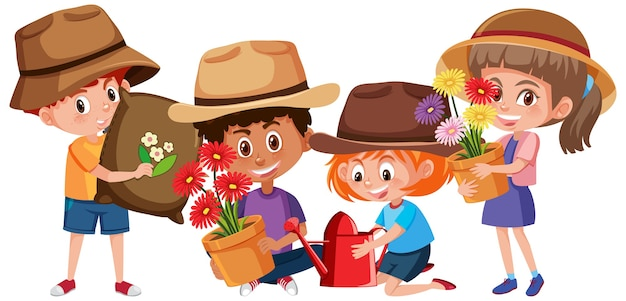 Conjunto de crianças segurando um personagem de desenho animado de ferramentas de jardinagem isolado no fundo branco