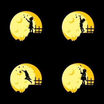 Conjunto de crianças sonham na lua