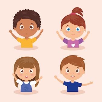 Conjunto de crianças sorrindo com as mãos para cima ilustração
