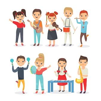 Conjunto de crianças tocando instrumentos musicais. desempenho musical de crianças em idade escolar