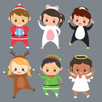 Conjunto de crianças usam trajes ilustração vector