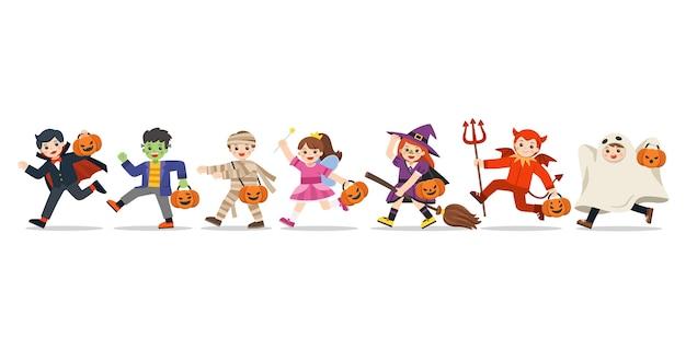 Conjunto de crianças vestidas com fantasias de halloween para ir travessuras ou travessuras. feliz dia das bruxas.