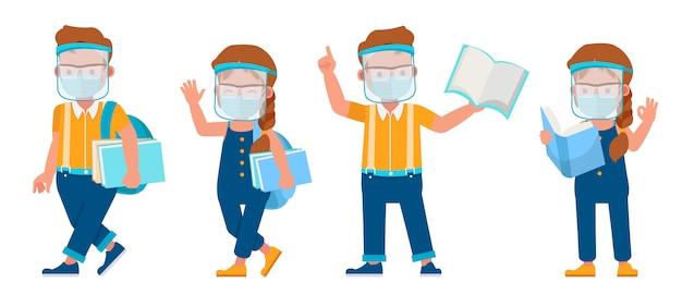 Conjunto de crianças vestindo máscara médica e personagem de escudo do rosto. apresentação em várias ações com emoções.