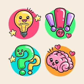 Conjunto de criatividade kawaii colorido