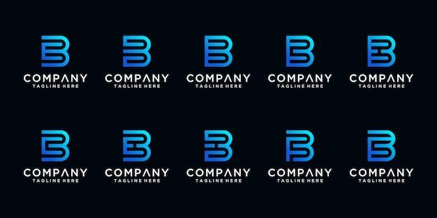 Conjunto de criativo abstrato monograma letra b e modelo de design de logotipo etc.