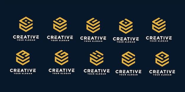 Conjunto de criativo abstrato monograma letra c e modelo de design de logotipo etc.
