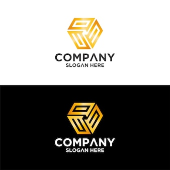 Conjunto de criativo carta hexágono letra co modelo de design de logotipo premium vetor premium