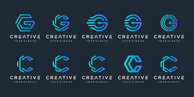 Conjunto de criativo letra c e letra g logotipo modelo