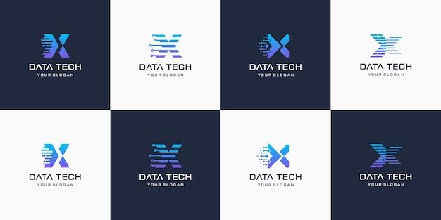 Conjunto de criativo letra x, logotipo de tecnologia digital moderna.