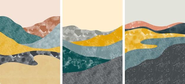 Conjunto de criativos minimalistas pintados à mão. arte abstrata
