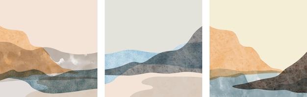 Conjunto de criativos minimalistas pintados à mão. fundo de artes abstratas.