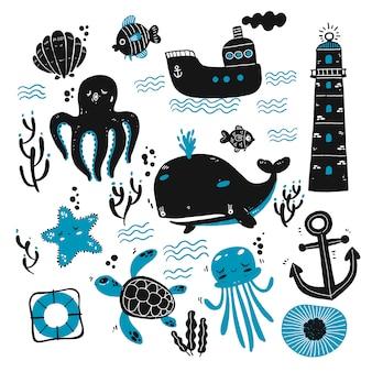 Conjunto de criaturas do mar e desenhos marinhos