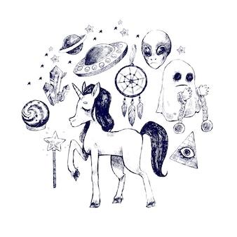Conjunto de criaturas místicas de adesivos.