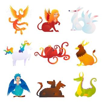 Conjunto de criaturas míticas e fantásticas