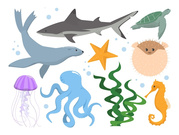 Conjunto de criaturas subaquáticas