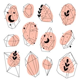 Conjunto de cristais de doodle desenhado à mão pedras, diamantes e cristais conjunto de vetores de pedras preciosas