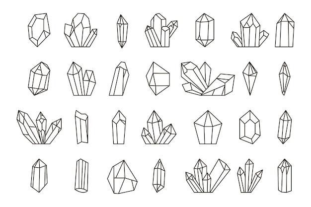 Conjunto de cristais de mão desenhada.