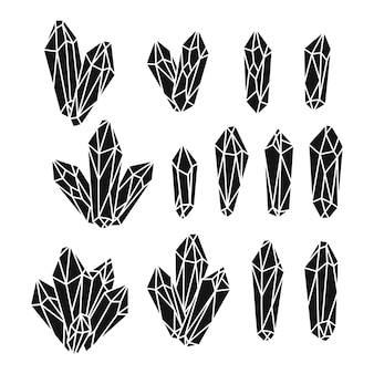 Conjunto de cristais de quartzo monocromáticos desenhados à mão
