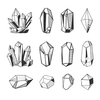 Conjunto de cristais de vetor de mão desenhada e minerais. gemas e pedras isoladas no fundo branco.
