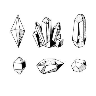 Conjunto de cristais desenhados à mão, ilustração em vetor preto e branco com cristais, gemas e minerais