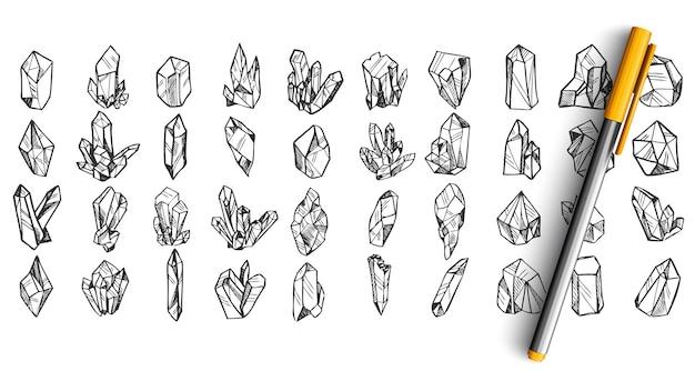 Conjunto de cristais doodle isolado no branco