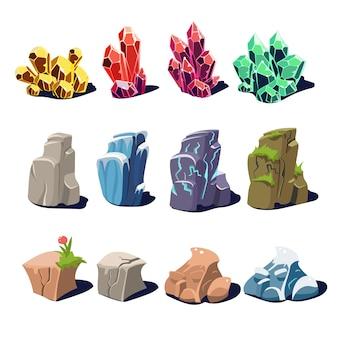 Conjunto de cristais e pedras mágicas