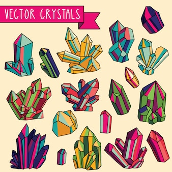 Conjunto de cristais. ícones coloridos.