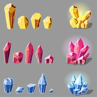 Conjunto de cristais mágicos ou ilustração de minerais