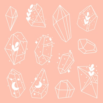 Conjunto de cristais ou pedras preciosas conjunto de joias de joias ou pedras preciosas